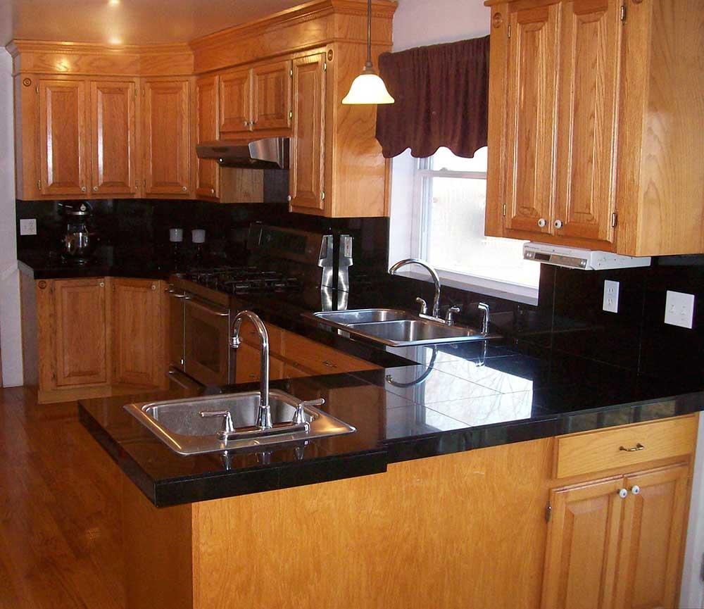red oak cabinets-tile countertops