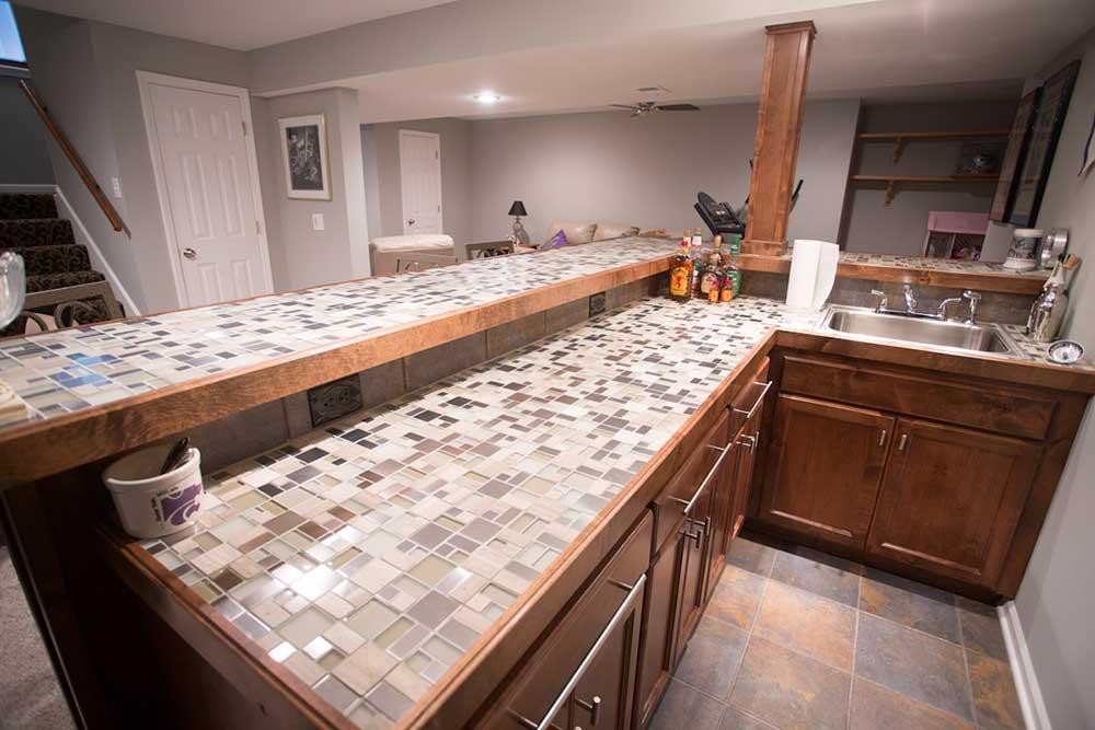 glass countertop-glass tile countertop- bar- basement-custom cabinets