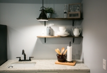 granite countertop-minimal shelving-
